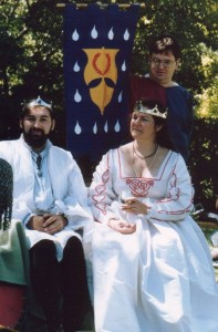 Alaine Bartholomieu Lorenz and Lucrezia Lorenz, second Baron and Baroness of Stormhold. Photo by Master John of the Hills, February 1991.