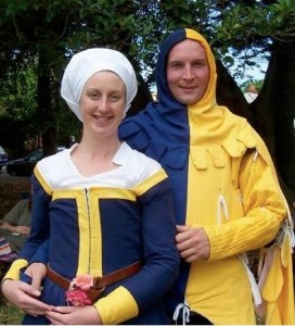 Arnfinr Akasson and Aine Caterina del Cossa, third Baron and Baroness of Ynys Fawr. Photo courtesy of Drusticc Inigena Eddarrnonn.