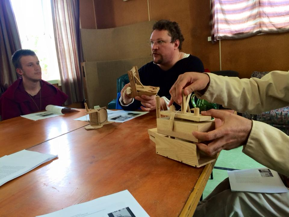 Master William de Wyke's hands-on class on period mousetraps. Photo by THL Ceara Shionnach, January 2015.