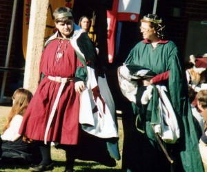 Richard de la Croix and Alarice Beatrix von Thal, second Baron and third Baroness of Rowany, at 12th Night in Politarchopolis. Photo by Master John of the Hills, 1997.