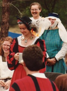 Mistress Rowan Perigrynne, first Baroness of Rowany, at Rowany Festival. Photo by Master John of the Hills, 1986.