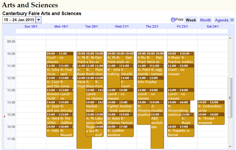 Arts and Sciences timetable for Canterbury Faire 2015, as sourced from the official event website.