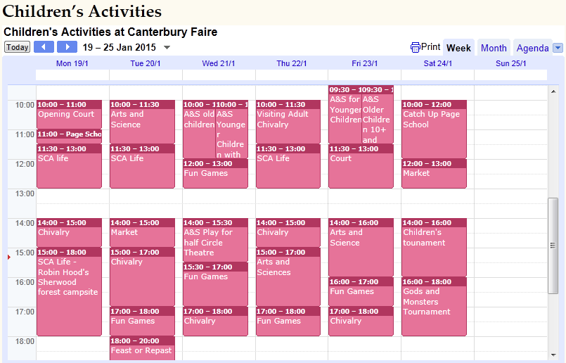 Children's activities timetable for Canterbury Faire 2015, as sourced from the official event website.