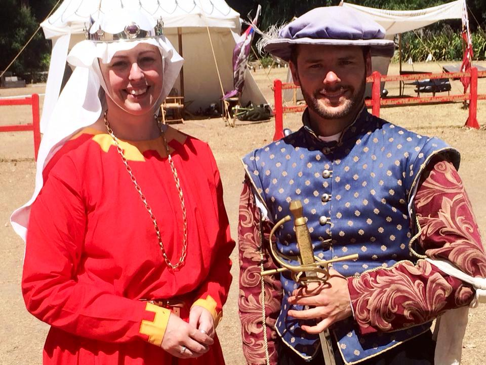 Baroness Isabela Maria del Aguila with the victor of the Baronesses Rapier Tournament - Don Gregory Tortouse de Sloleye. Photo by THL Ceara Shionnach, January 2015.