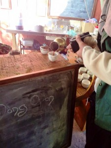 Turkish coffee shots were served at The Mong each day. Photo by THL Ceara Shionnach, January 2015.