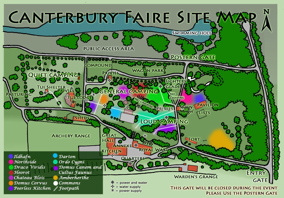 Approximate site map for Canterbury Faire, as published on the official event website.