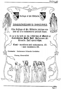 St Aldhelm event advertisement from Pegasus - March 1990 edition.