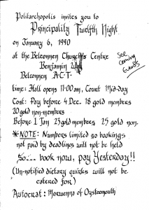 Twelfth Night Coronation 1990 event advertisement from Pegasus January 1990 edition.
