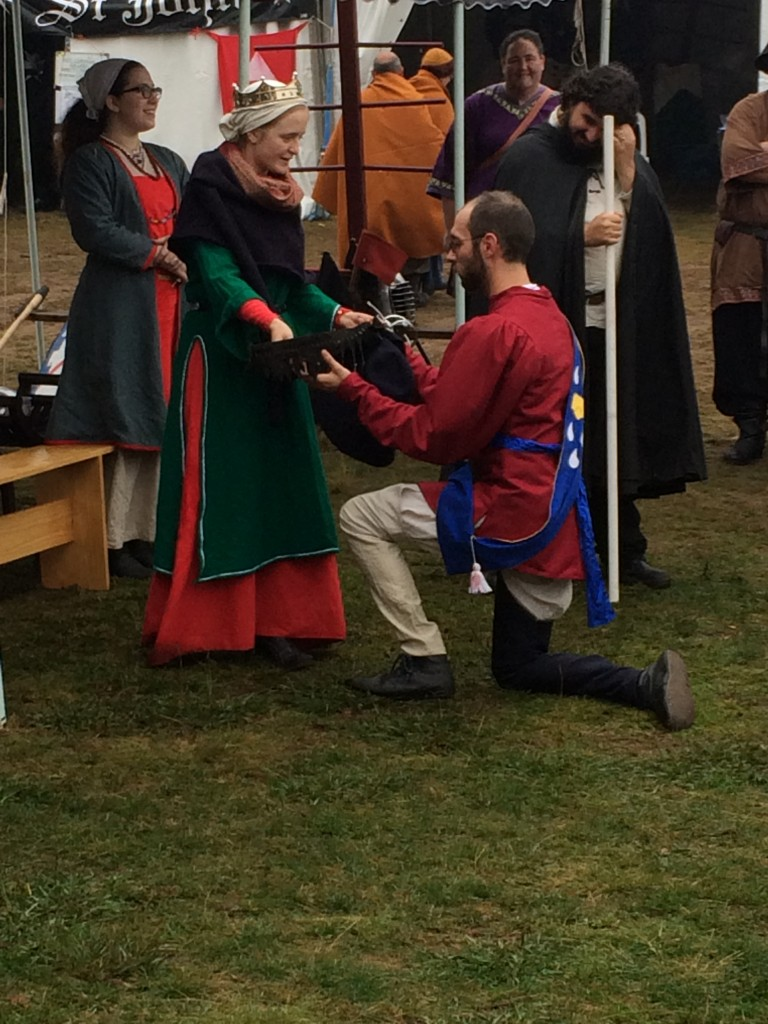 Provost Gilbert Wauchope was presented with the Baronesses Sword of Chivalry at Festival AS49. Photo by THL Ceara Shionnach, April 2015.