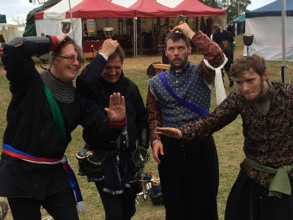 Bennetti's Defence from Innilgard won the teams tournament for rapier at Festival AS49. Photo by THL Ceara Shionnach, 2015.