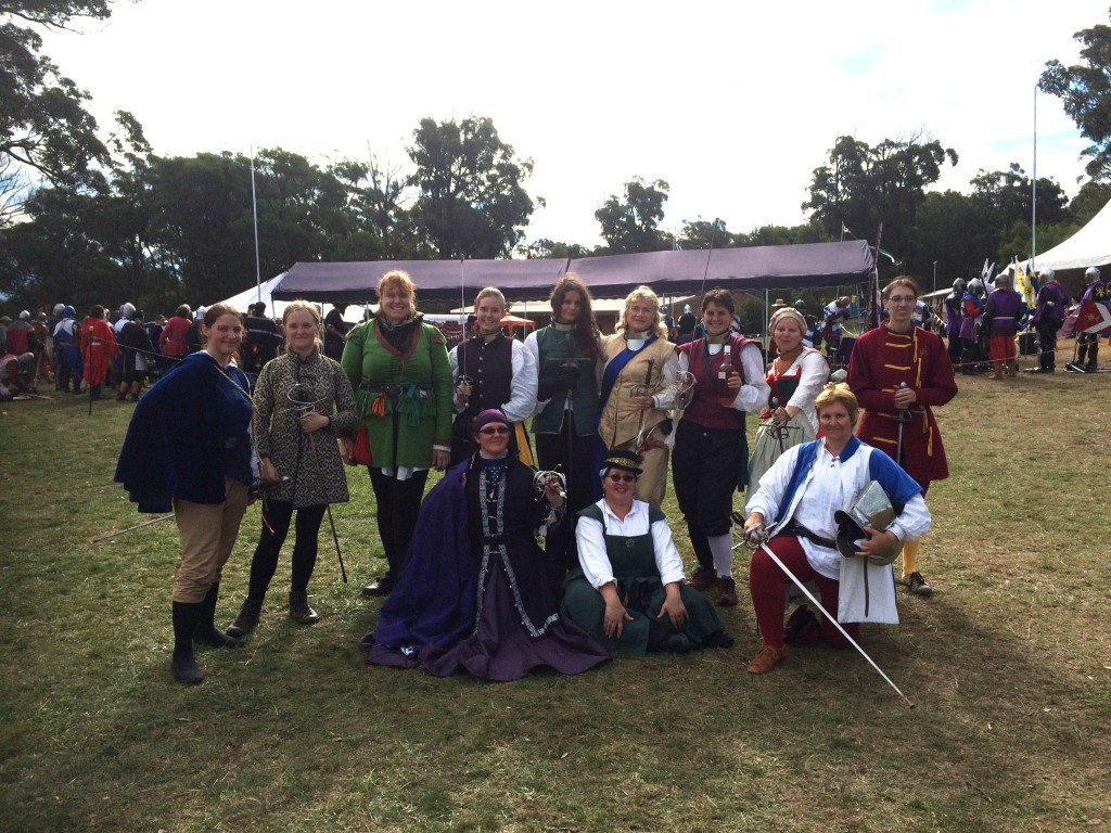 Ladies Rapier Tournament entrants from Rownay Festival AS49. Photo by THL Ceara Shionnach, April 2015.
