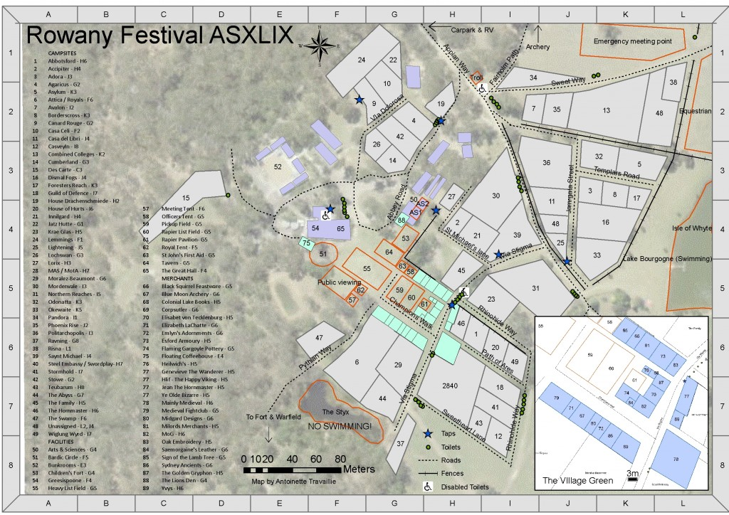 Rowany Festival AS49 site map by THL Antoinette Travaillie, 2015.