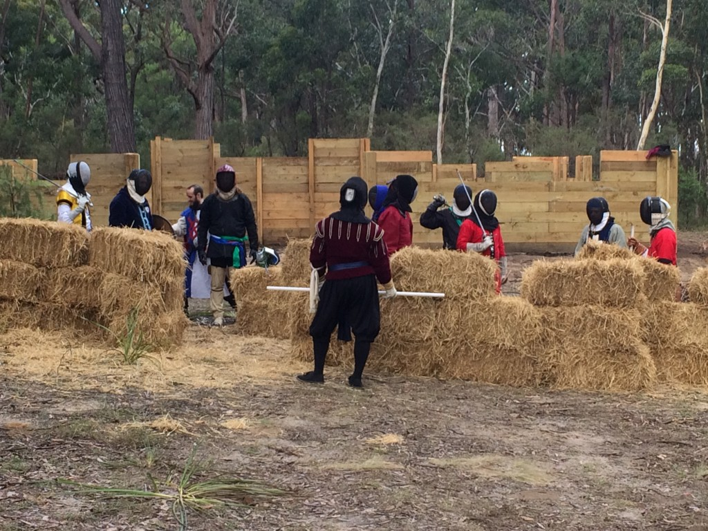 Rowany Festival's first rapier war. Photo by THL Ceara Shionnach, April 2015.