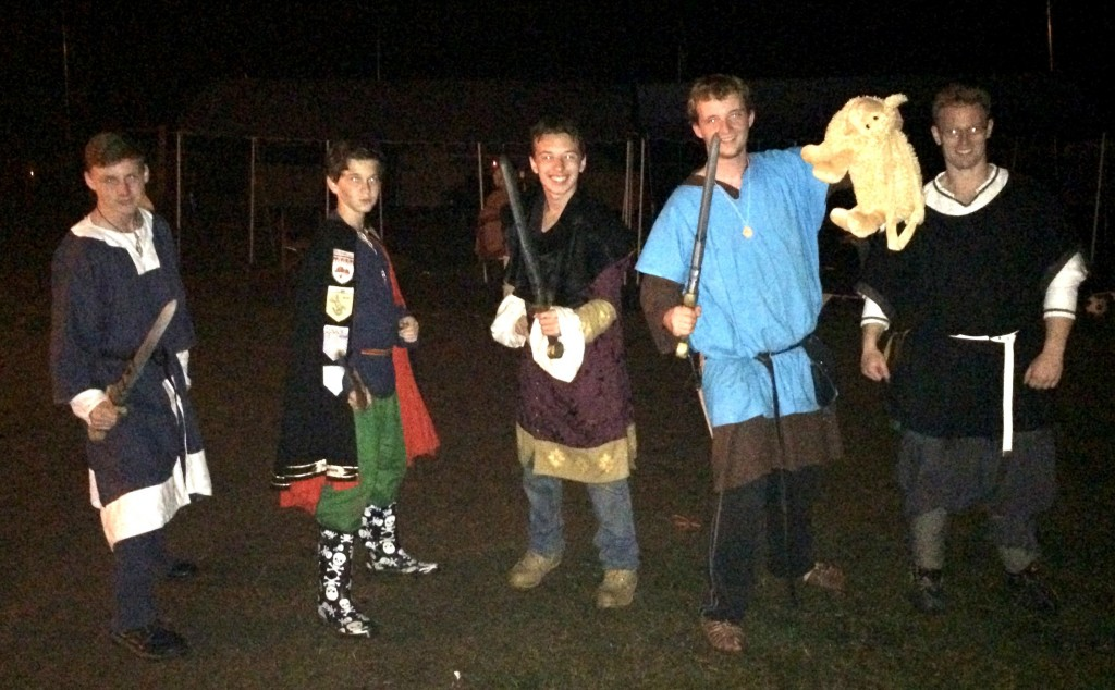 One of the sheep stealing teams for the night time boffer melee. Photo by THL Ceara Shionnach, April 2015.