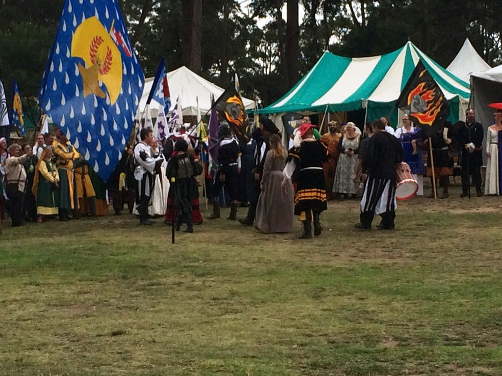 The Southern Rebels and their Allies in Opening Court. Photo by THL Ceara Shionnach, April 2015.