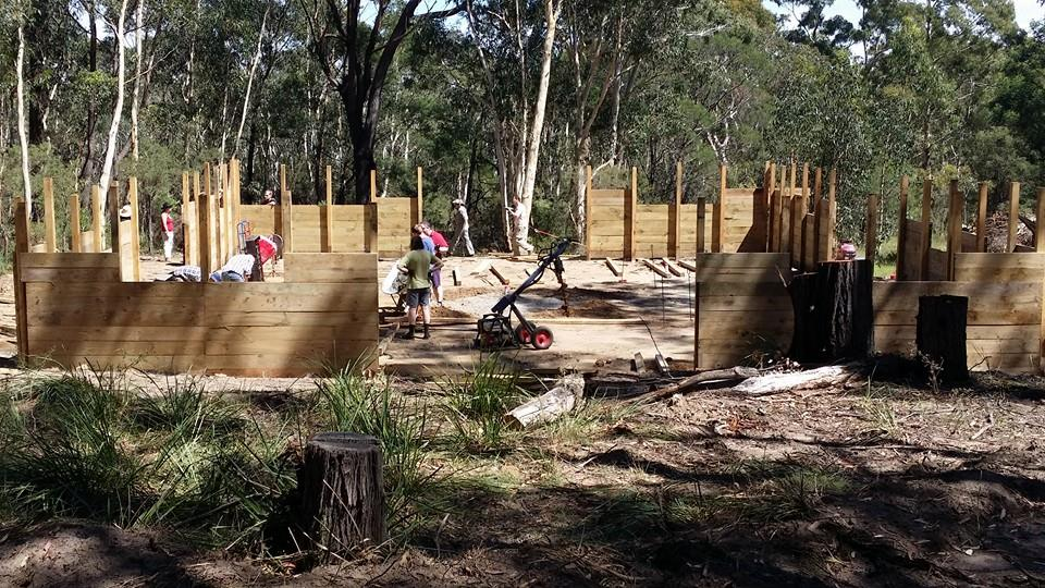 Fortdello under construction at Camp Wombaroo. Photo by Duke Alfar of Attica, 2015.