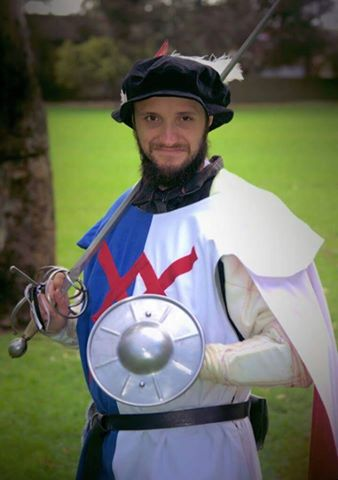 Ethan Drake, winnwe of the Newcomer's fencing tournament. Photo by by Lord Hugh De Beaufort, April 2015.