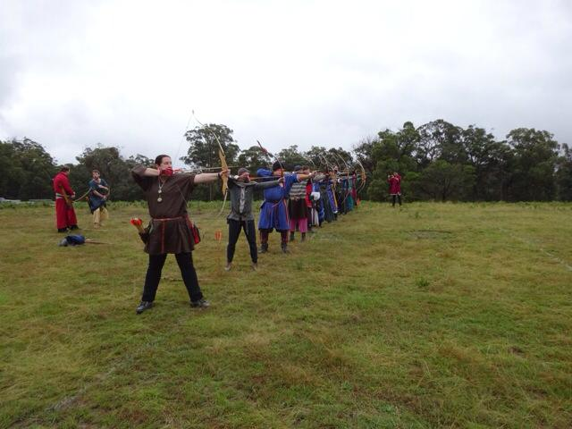 Target archery line at Festival AS49. Photo supplied by Lord Wintherus Alban, April 2015.