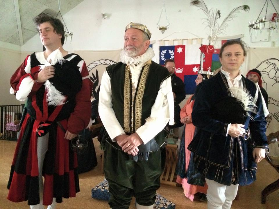 Master Caleb Adolphus, Master Damian Greybeard and Master William de Cameron, Lochac's inaugral recipients of the Order of Defense in Lochac. Photo by THL Ceara Shionnach, May 2015.
