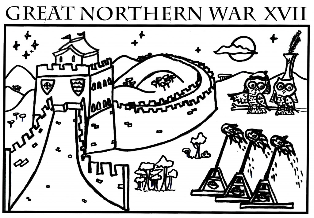 The design on the red GNW 2015 t-shirts was a scene depicting Mongowls (in honour of the Kahn and Khatun) invading the Northern Reaches. It was drawn by TH Lady Ceara Shionnach, 2015.