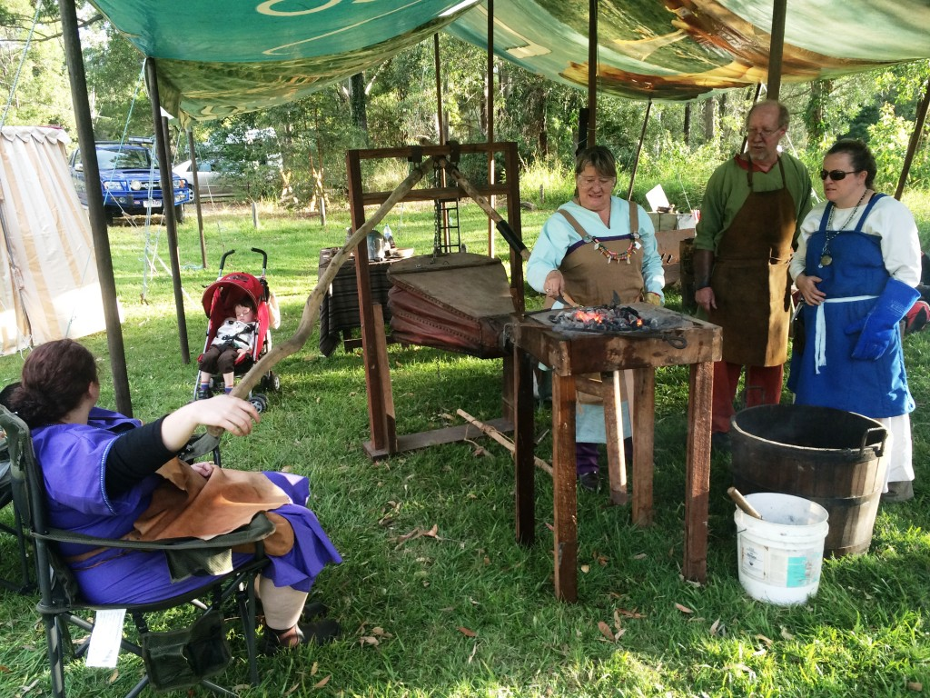 Blacksmithing with Martin. Photo by TH Lady Ceara Shionnach, June 2015.