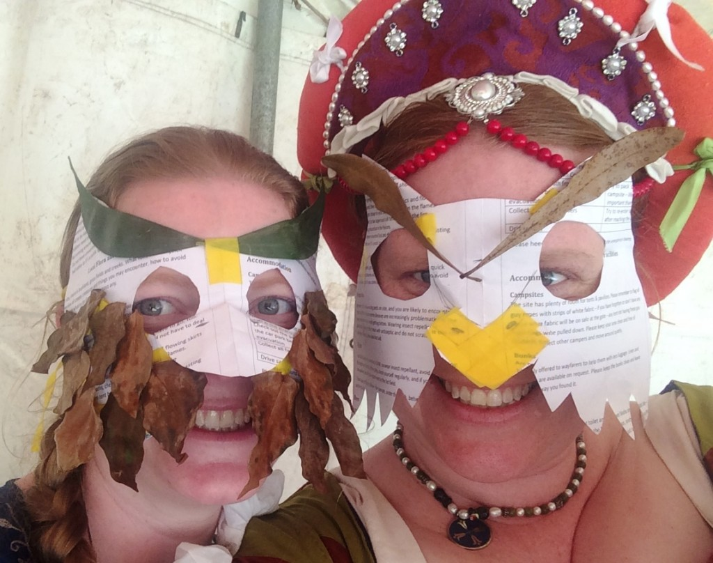 TH Lady Ant and TH Lady Ceara wearing their owl masks for the Owl Bingo challenge. Photo by TH Lady Ceara Shionnach, June 2015.