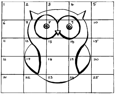 The owl grid, drawn by TH Lady Christine Bes Duvaunt, June 2015.