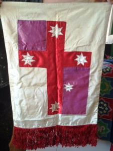 The first Kingdom of Cumberland banner. Note that the blue has faded to purple. Banner by Robyn Brehony, photo by Ceara Shionnach.