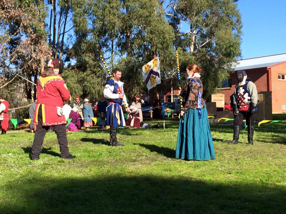 Baron Sir Somerled faces Lord Timothy in the Provost of Lochac finals. Photo by THB Ceara Shionnach, July 2015.