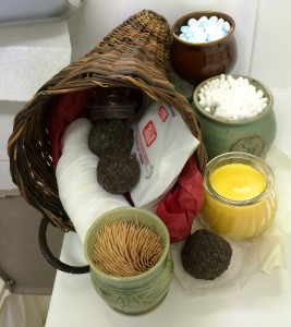 The cornucopia of hand made soaps and incense in the bathroom. Photo by THB Ceara Shionnach, July 2015.
