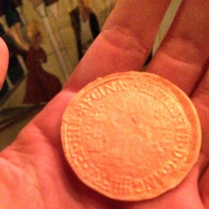 Sugar paste coin soteltie's were distributed after the third tableaux. Photo by THB Ceara Shionnach, July 2015.