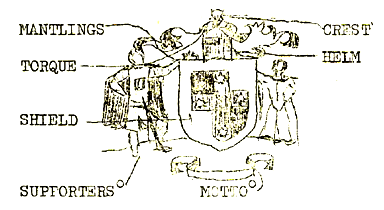 A labelled drawing of the Kingdom of Cumberland's device with supporters and crest, by Robyn Breheny (Mistress Rowan Perigrynne) and published in the first edition of the Runes newsletter.