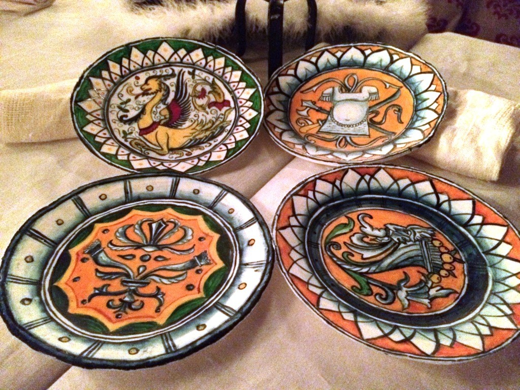 Four of the smaller, majolica-style plate sotelties. Photo by THB Ceara Shionnach, July 2015.