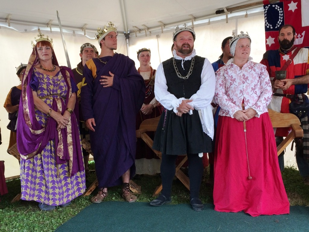 The Crowns of Calontir and Lochac held a joint court at Pennsic War 44. Photo by THB Ceara Shionnach, August 2015.