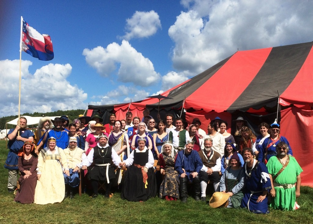 A significant proportion of the Lochac contingent at Pennsic War 44. Photo taken by Rhys Ravencroft, August 2015.