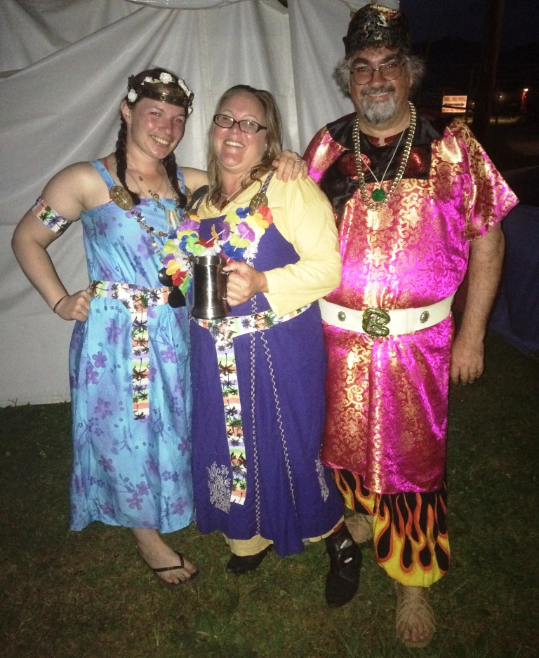 Many Lochacians donned hilarious Viking Luau outfits for the West Kingdom's party. Photo by THB Ceara Shionnach, August 2015.