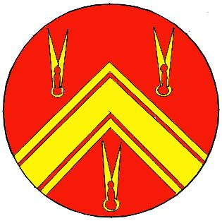 The registered badge of Lochac's Worshipful Company of Broiderers. Image from the Crux Australis Monthly Email Letter, April 2004.