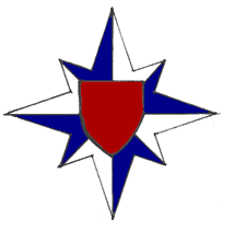The registered badge of Lochac's Royal Guild of Defence, which can be worn/used by any member of the Guild. Image from the Crux Australis Monthly Email Letter, September 2004.