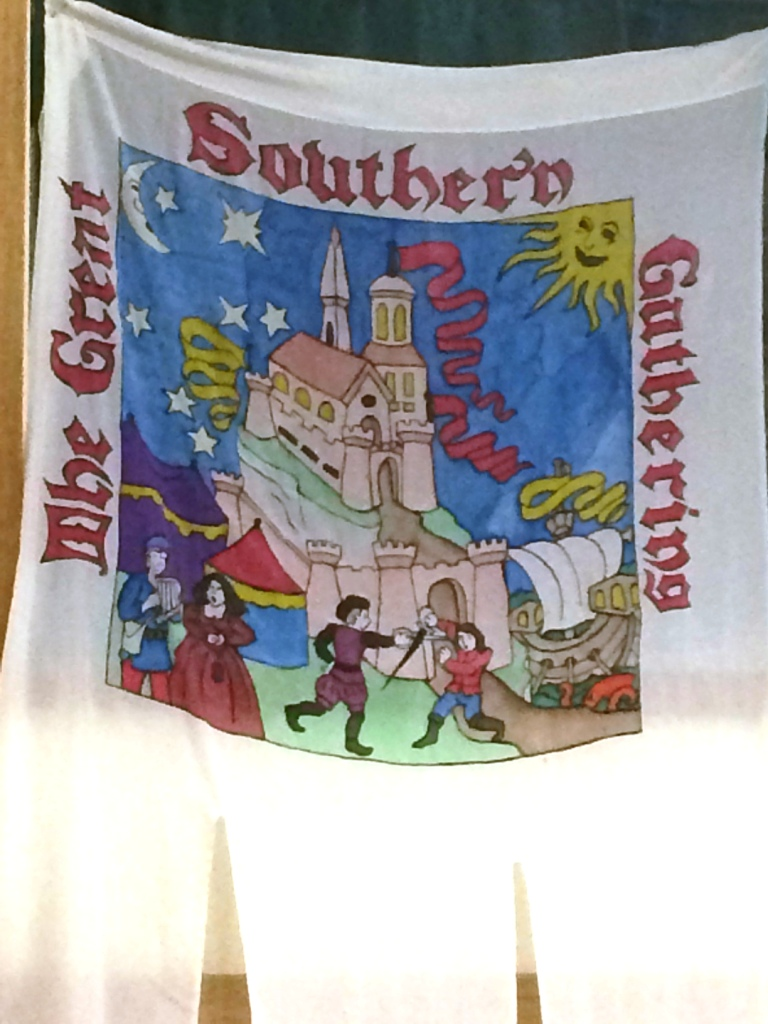 The Great Southern Gathering banner, as painted by Baroness Madeleine de Chalôns. Photo by THB Ceara Shionnach, October 2015.