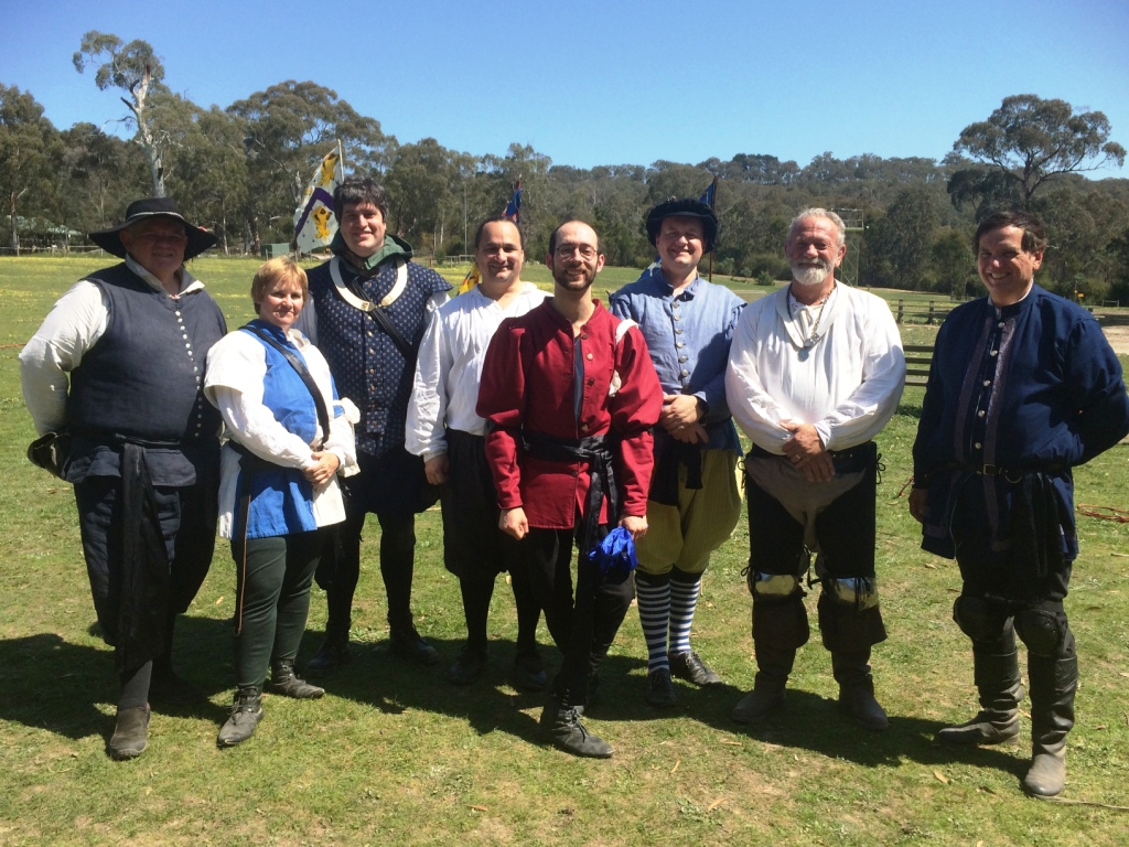 Don Gilbert after his successful Royal Guild of Defence Guildmaster Prize, standing with the other Guildmasters in attendance at GSG VII. Photo by THB Ceara Shionnach, 4 October 2015.