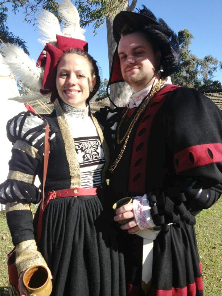 Felix I and Eva I in Their divestiture garb at Midwinter Coronation AS48. Photo by Lady Ceara Shionnach, July 2013.