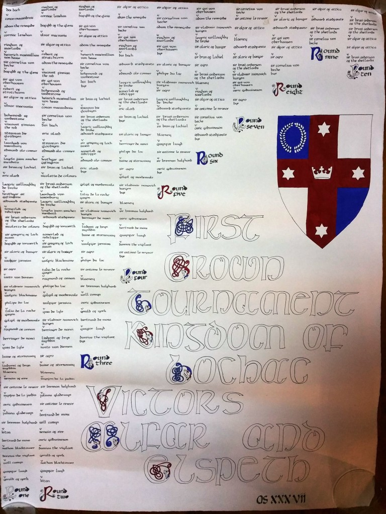 This scroll, given to Alfar I and Gudrun I, lists all of the bouts of Lochac's First Crown Tournament. Photo by Duke Sir Alfar of Attica, November 2015.