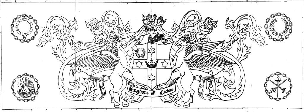 Line drawing design of a Lochac banner by Sir Eva von Danzig, 2015.