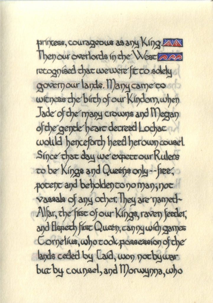 Page 10 of The Lochac Saga, written by His Excellency Giles Leabrook and illuminated by Lady Katherine Alicia of Sarum.