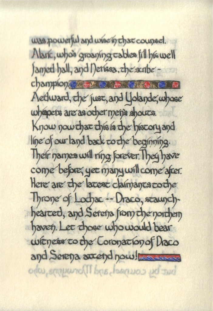 Page 11 of The Lochac Saga, written by His Excellency Giles Leabrook and illuminated by Lady Katherine Alicia of Sarum.