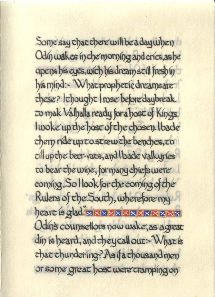 Page 2 of The Lochac Saga, written by His Excellency Giles Leabrook and illuminated by Lady Katherine Alicia of Sarum.