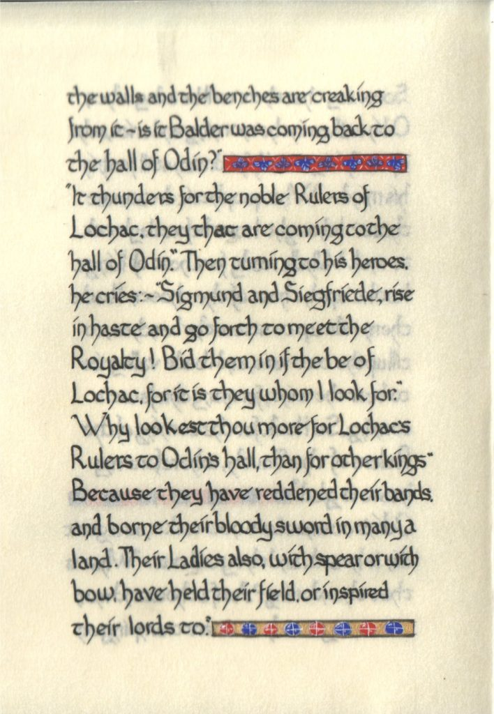 Page 3 of The Lochac Saga, written by His Excellency Giles Leabrook and illuminated by Lady Katherine Alicia of Sarum.