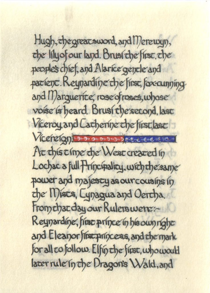 Page 5 of The Lochac Saga, written by His Excellency Giles Leabrook and illuminated by Lady Katherine Alicia of Sarum.