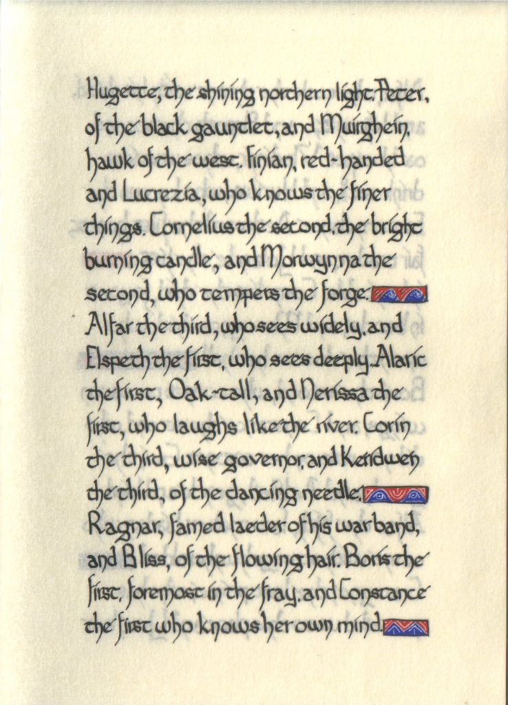 Page 8 of The Lochac Saga, written by His Excellency Giles Leabrook and illuminated by Lady Katherine Alicia of Sarum.