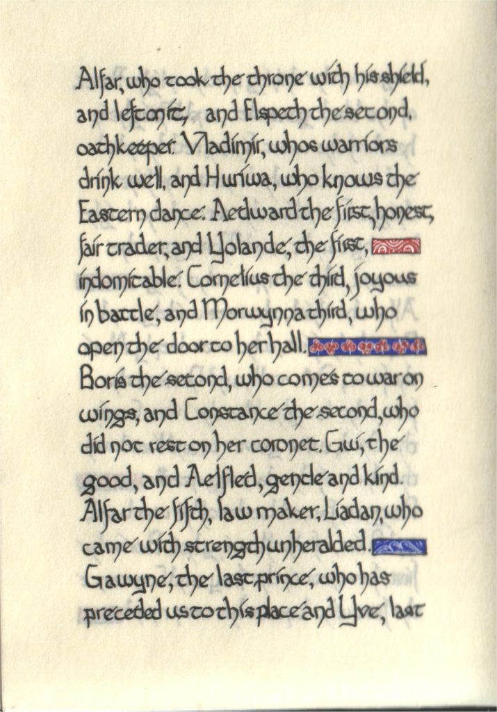 Page 9 of The Lochac Saga, written by His Excellency Giles Leabrook and illuminated by Lady Katherine Alicia of Sarum.